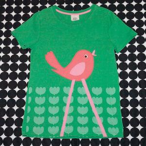 Mini Boden Green Applique Tee Pink Bird 11/12